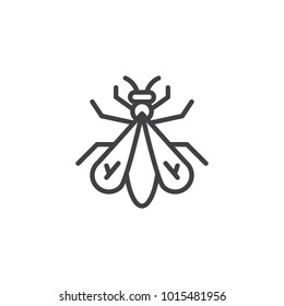 Fly insect line icon, outline vector sign, linear style pictogram isolated on white. Symbol, logo illustration. Editable stroke