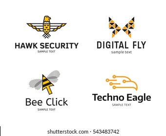 Fly Logo Design Template Set. Vector logotype collection of hawk security, techno eagle, butterfly and honey bee click signs. Graphic bird symbols isolated on white background. Flat wings badge label