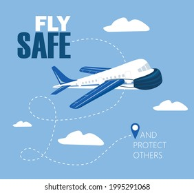 Fly safe and protect others. Airplane in the mask. Pandemic. New flight regulations.