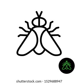 Fly simple line icon. Outline style gadfly symbol. Adjustable stroke width.