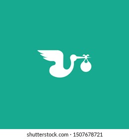 fly stork with baby white logo color
