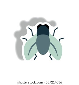 fly stylish icon in paper sticker style fly insect