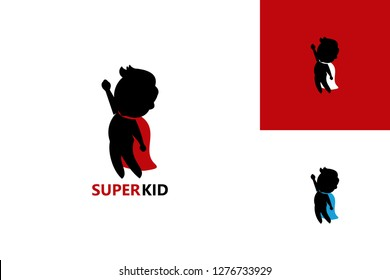 Fly Super Kid Logo Template Design Vector, Emblem, Design Concept, Creative Symbol, Icon
