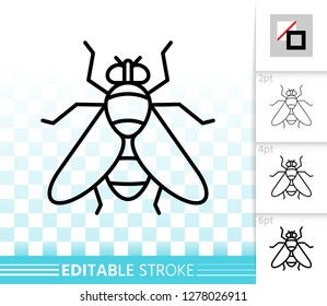Fly thin line icon. Outline web sign of insect. Housefly linear pictogram with different stroke width. Bug simple vector symbol on transparent background. Drosophila editable stroke icon without fill