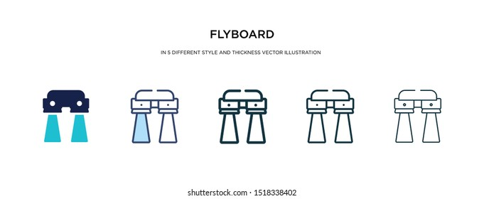 flyboard icon in different style and thickness vector illustration. Two colored and black flyboard vector icons in filled, outline, line, stroke style can be used for web, mobile, UI