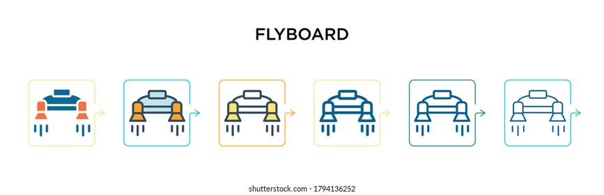 Flyboard vector icon in 6 different modern styles. Black, two colored flyboard icons designed in filled, outline, line and stroke style. Vector illustration can be used for web, mobile, ui