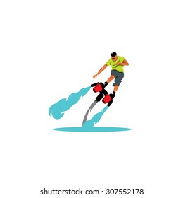 Flyboarding sign. Vector Illustration. Branding Identity Corporate logo design template Isolated on a white background