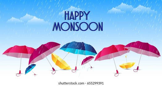 flyer, abstract, banner or poster for Happy Monsoon with nice and creative design illustration.
