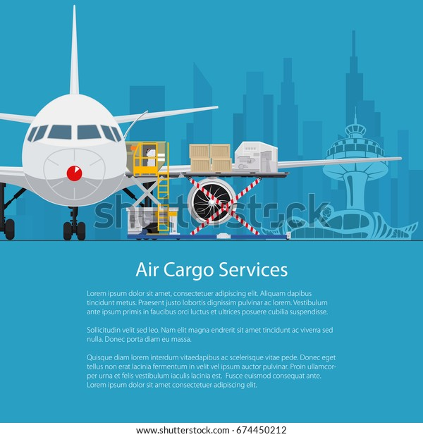 Flyer Air Cargo Services Freight Airplane Stock Vector Royalty Free 674450212