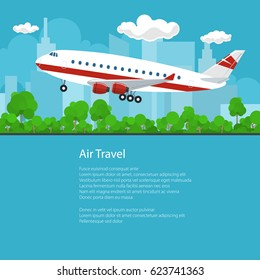 Flyer Air Travel, Airplane on the Background of the City Flies to the West and the Text, Transportation Concept , Brochure Poster Design, Vector Illustration