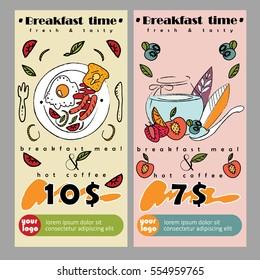 Flyer or banner for breakfast deal in restaurant. Vector illustration