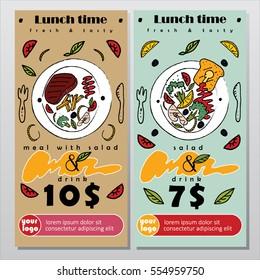 Flyer or banner for lunch deal in restaurant. Vector illustration