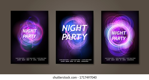 Flyer, banner, poster, invitation template design for disco dance music party night club