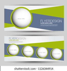 Flyer banner or web header template set. Vector illustration promotion design background. Green and grey color.