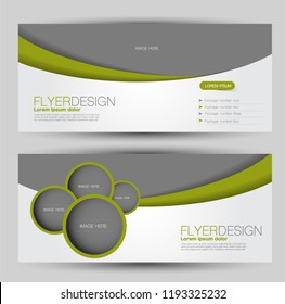 Flyer banner or web header template set. Vector illustration promotion design background. Green color.