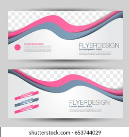 Flyer banner or web header template set. Vector illustration promotion design background. Pink and grey color.