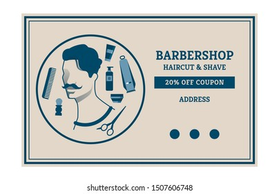 Flyer Barbershop Haircut Shave 20 Percent Flat. Banner Off Coupon Address. Poster Portrait  Man with Mustache on Background Tools for Cutting and Styling Hair. Vector Illustration.
