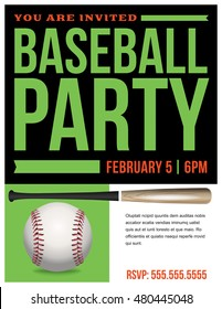 A flyer for a baseball party invitation template. Vector EPS 10 available.