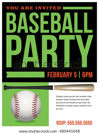 flyer baseball party invitation template vector stock vector