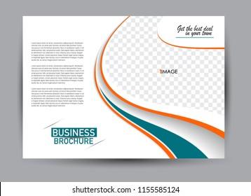 Flyer, brochure, billboard template design landscape orientation for business, education, school, presentation, website. Green and orange color. Editable vector illustration.