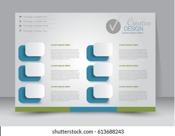Flyer, brochure, billboard template design landscape orientation for education, presentation, website. Blue and green color. Editable vector illustration.