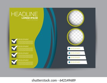 Flyer, brochure, billboard template design landscape orientation for education, presentation, website. Blue and green color. Editable vector illustration