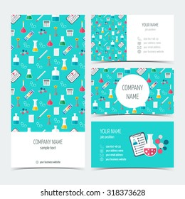 Flyer, brochure and business cards for the chemical, scientific and medical companies. Flat design. Vector illustration