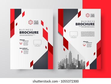 Flyer brochure design, business cover size A4 template, geometric rhombus red color