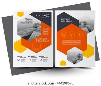 Flyer brochure design, business flyer size A4 template, creative leaflet, trend cover hexagon