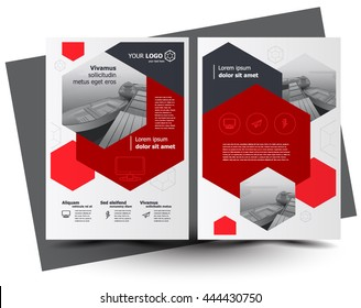 Flyer brochure design, business flyer size A4 template, creative leaflet, trend cover hexagon red