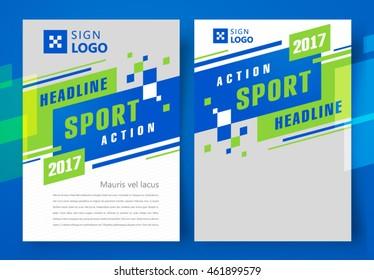 Flyer brochure design, business flyer size A4 template, action sport headline, stripes and squares, set