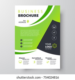 Flyer brochure design, business template cover size A4 green color