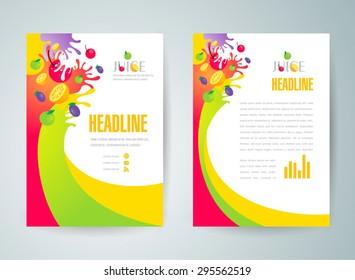 flyer brochure design template abstract fruit juice liquid drops splash colorful
