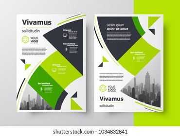 Flyer brochure design template circles and triangles theme green color