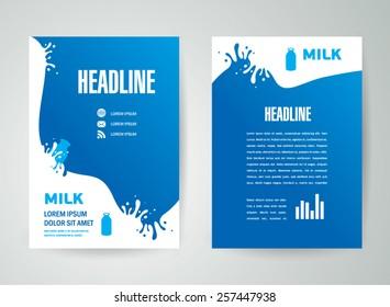 flyer brochure design template milk splash liquid drops element design