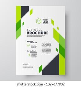 Flyer brochure design template size A4, creative cover geometric green color