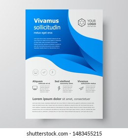 Flyer brochure design template size A4,curves theme blue color