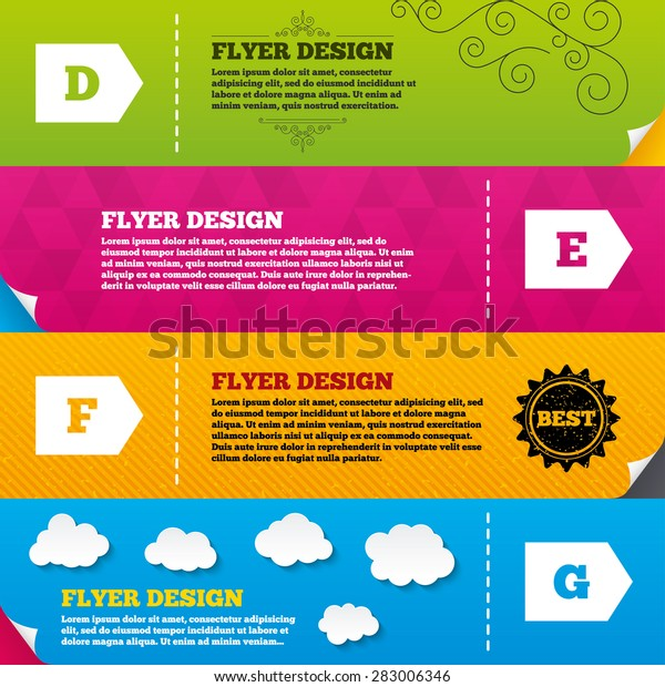 Flyer brochure designs. Energy efficiency class icons. Energy consumption sign symbols. Class D, E, F and G. Frame design templates. Vector