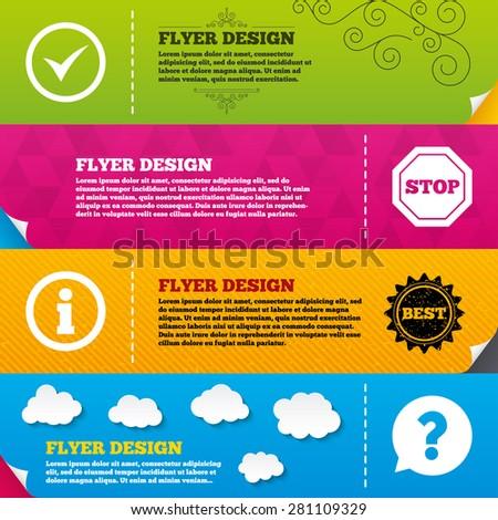 flyer brochure designs information icons stop stock vector royalty
