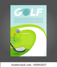 Flyer brochure golf, cover A4 size game action golf