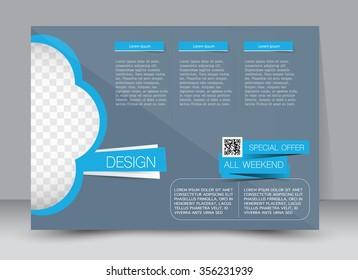 Flyer, brochure, magazine cover template design landscape orientation for education, presentation, website. Blue color. Editable vector illustration.