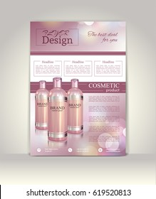 Flyer, brochure or magazine cover template. Cosmetic ads poster.3D Realistic vector illustration in soft purple color.