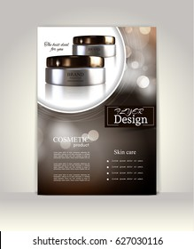 Flyer, brochure or magazine cover template. Cosmetic ads poster.3D Realistic vector illustration