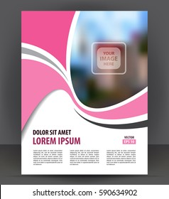 Flyer brochure, pink cover layout design print template, pamphlet vector Illustration