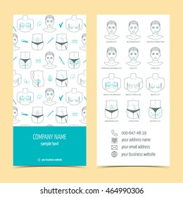 Flyer and brochure for plastic surgery clinic with line icons. Set of promotional products. Flat design. Vector illustration