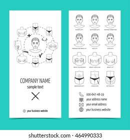 Flyer, brochure for plastic surgery clinic with line icons. Set of promotional products. Flat design. Vector illustration