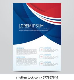 Flyer, brochure, poster, annual report, magazine cover vector template. Modern blue and red corporate design.