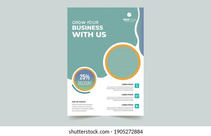 Flyer Brochure Poster Template Layout Design. Corporate Business Flyer Mockup. Creative Modern Concept with Dynamic Abstract Shapes on Flyer Background.