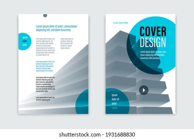 Flyer business trendy corporate style vector design with front and back pager A4 format, modern leaflet cover or presentation template, abstract background with big office building.