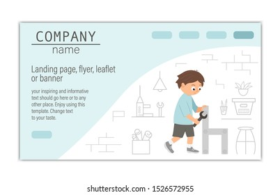 Flyer, card, banner or landing page template for building, repairing service company or craft masterclass website.  Vector flat illustration of a man screwing a screw with a screwdriver